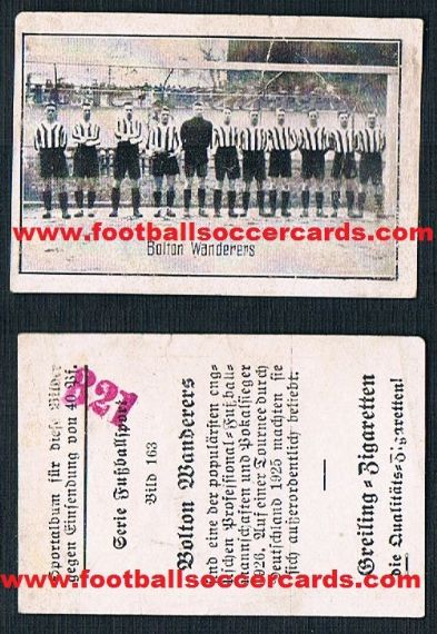 1926 Greling German tobacco card of Bolton Wanderers